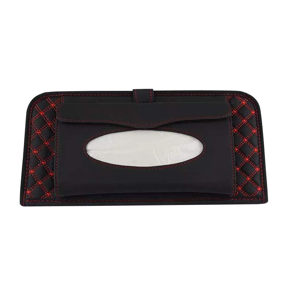 idan Car Sun Visor Tissue Bag Multi Function Double-Deck CD Holder Visor with Tissue Case,Black+White