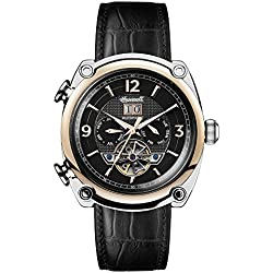 Ingersoll Men's Automatic Stainless Steel and Leather Casual Watch, Color:Black (Model: I01102)