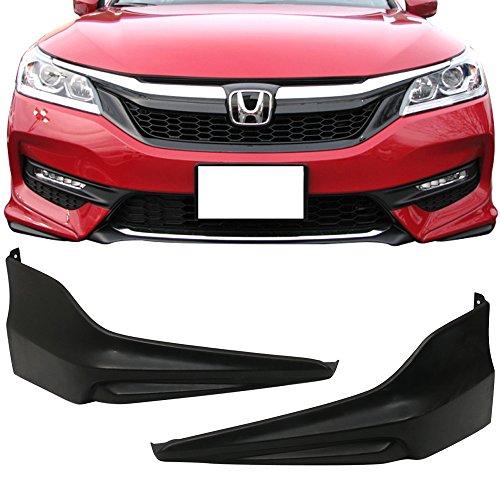 Front Lip Splitters Fits 2016-2017 Honda Accord Sedan | HFP Style Unpainted Black PU Polyurethane Front Bumper Lip Spoiler by IKON MOTORSPORTS