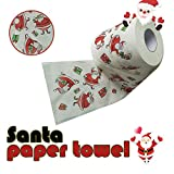Sinwo Christmas Pattern Roll Paper Print Interesting Toilet Paper Table Kitchen Paper Christmas Decor (A)