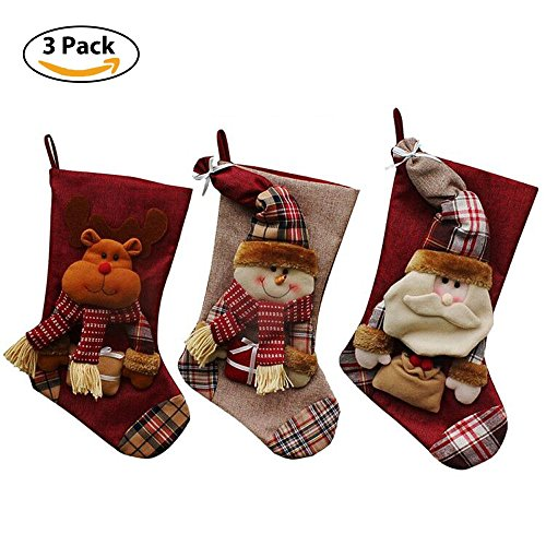 """Christmas Stockings Set of 3 PCS, 18"""" Xmas Stockings Large Size with Cute 3D Santa, Snowman, Reindeer for Hanging Christmas - Santa Xmas Stocking"""