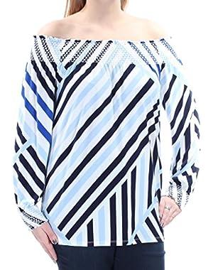 $69 Womens New 1148 Blue White Striped Long Sleeve Top L B+B