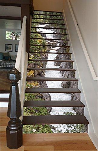 "Maligne River Painted Stairway Decoration Adhesive Vinyl Stair Riser Panels Easy To Install and Removable (14, 37"")"