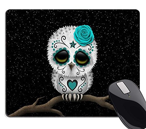 Wknoon Cute Teal Day of The Dead Sugar Skull Owl Stars Mouse Pad (And Owl Mouse)