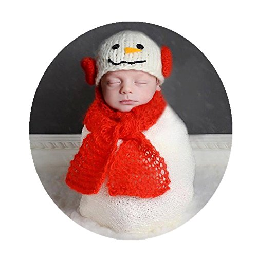 Newborn Monthly Baby Photo Props Outfits Snowman Hat Scarf Blanket for Boy Girls Photography Shoot -
