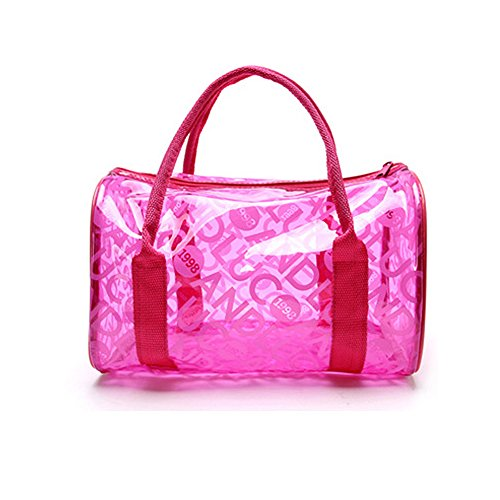 Playa Roja Bolso Rosa de Mujeres Portátil para Viajar Hombro y de de Natación Negro Colores Transparente Impermeable Moda Chicas Playa iSpchen PVC Bolso de Bolsas de Cosméticos Dulces para Bolsas wSqfY