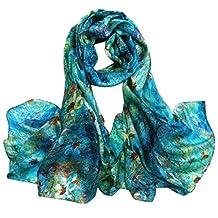 Aivtalk Women Printing Silk Scarves Long Wrap Stole Shawl - Green Flower