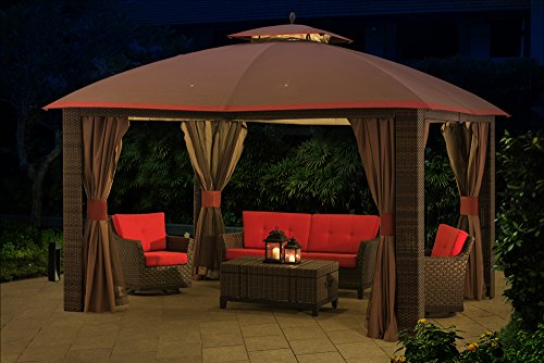 Sunjoy 12 X 10 Sonoma Wicker Gazebo With Netting And