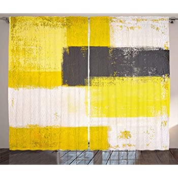 Ambesonne grey and yellow curtains abstract - Grey and yellow living room curtains ...
