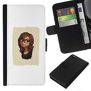 KLONGSHOP // Tirón de la caja Cartera de cuero con ranuras para tarjetas - Cute Girl Glasses - HTC DESIRE 816 //