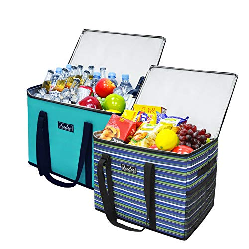 Insulated Leak Proof Cooler - Deedee Insulated Cooler Bag, 34L Extra Large Durable Food Delivery Bag 16.5 inch L with Hard Bottom, Free-Standing Solid Sides and Reinforced Handles, Leakproof, Heavy Duty, Collapsible(2 Pack)