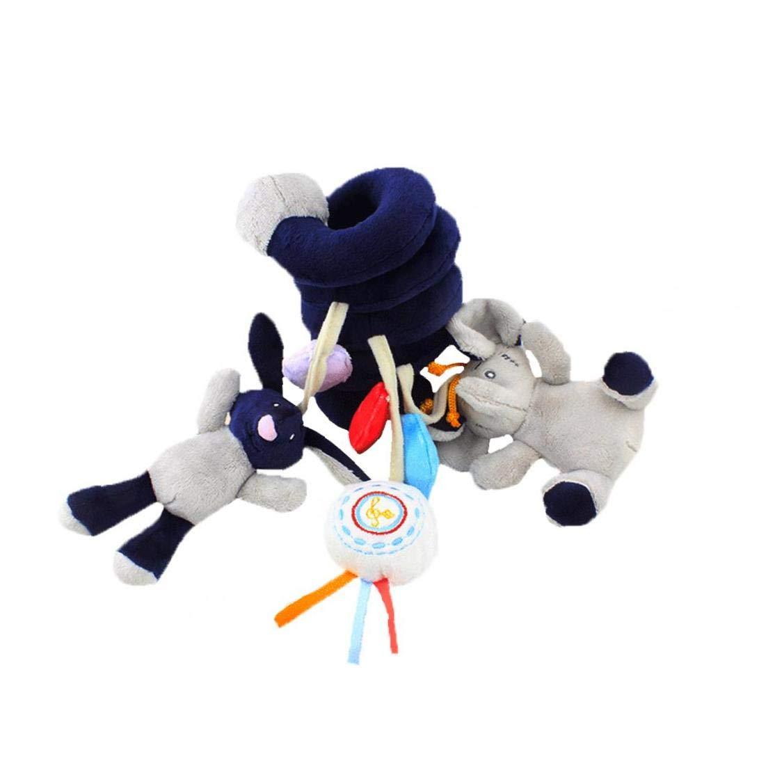 ruiting Activit/é B/éb/é Poussette Jouet en Spirale Hanging Toy avec Clochette Elephant Cartoon Poussette Arche hochets Education b/éb/é Jouet pour Si/ège dauto Lit b/éb/é 1pc