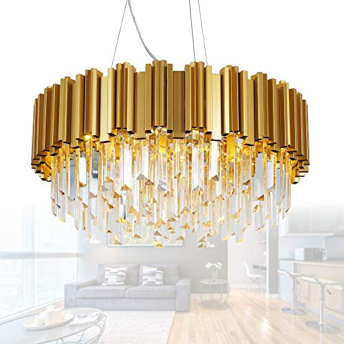 (MEELIGHTING Gold Luxury Modern Crystal Chandelier Lighting Contemporary Raindrop Chandeliers Pendant Ceiling Lights Fixture for Dining Room Living Room Hotel Bedroom W22