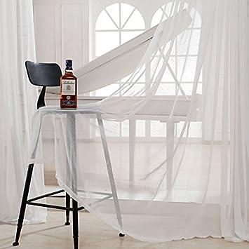 cool cosyvie rideau voilage en lin blanc uni oeillets pour. Black Bedroom Furniture Sets. Home Design Ideas
