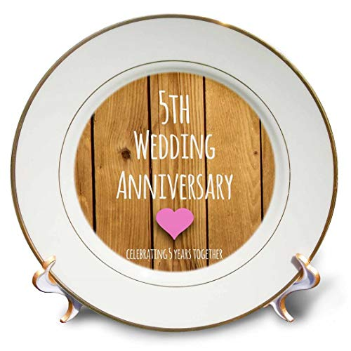 - 3dRose cp_154433_1 5th Wedding Wood Celebrating 5 Years Together Fifth Anniversaries Five Yrs Porcelain Plate, 8-Inch