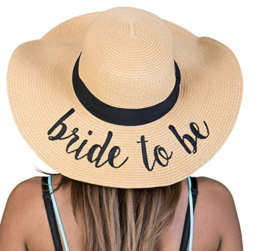 H-2017-BTB Funky Junque Embroidered Bridal Sun Hat - Bride to Be