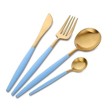 Buyer Star 4 piezas Acero Inoxidable Set de Cubiertos Cubiertos de Oro Vajilla Mango Azul Cielo Cuchillo Tenedor Cuchara Vajilla: Amazon.es: Hogar