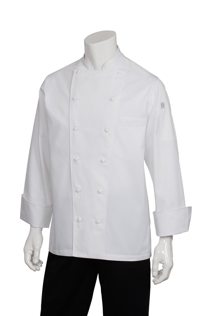 Chef Works Men's Monza Executive Chef Coat, White, Large by Chef Works
