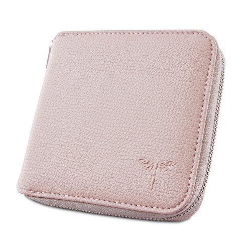 YUNCE Women Small Zipper Wallet Ladies Bifold Genuine Leather Mini Card Holder Coin Purse (Light Pink)
