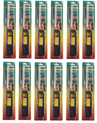 Butane Lighter Chimney (12PK BBQ Grill Lighter Refillable Butane Gas Candle Fireplace Kitchen Stove Long)