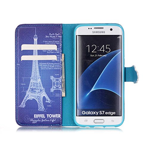 Funda para Galaxy S7 Edge, Galaxy S7 Edge Funda de PU cuero resistente, Galaxy S7 Edge Ultra Slim PU Cuero Folding Stand Flip Funda Carcasa Caso,Galaxy S7 Edge Leather Case Wallet Protector Card Holde torre