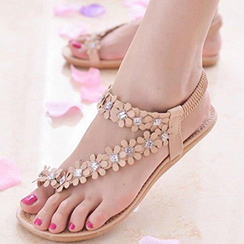 Tefamore Mujer zapatos planos vendaje Bohemia ocio sandalias de señora Peep-Toe zapatos al aire libre Caqui