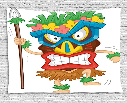Tiki Bar Decor Tapestry by Ambesonne, Native Man Wearing Mask Illustration Cartoon Tribal Costume Primitive Ritual, Wall Hanging for Bedroom Living Room Dorm, 80 W X 60 L Inches, Multicolor