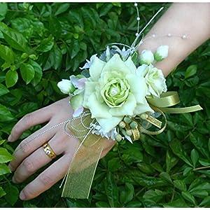 Arlai Bridal Wrist Corsage Wedding Party Artificial Flower Bridesmaid Brooch Wedding Bouquet Decoration Pack of 1 Light Green 3