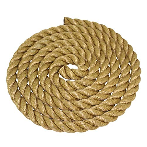 ProManila Rope (1.5 inch) - SGT KNOTS - UnManila Tan Twisted 3 Strand Polypropylene Cord - Moisture, UV, and Chemical Resistant - Marine, DIY Projects, Crafts, Commercial, Indoor/Outdoor (50 ft)
