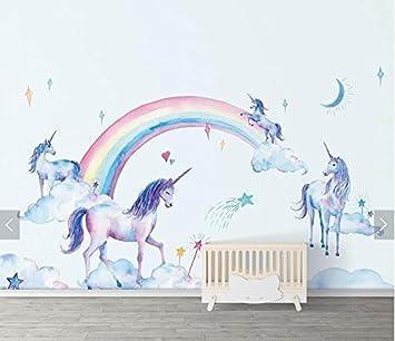 Yosot 3d Arc En Ciel Licorne Aquarelle Papier Peint Mural Pour