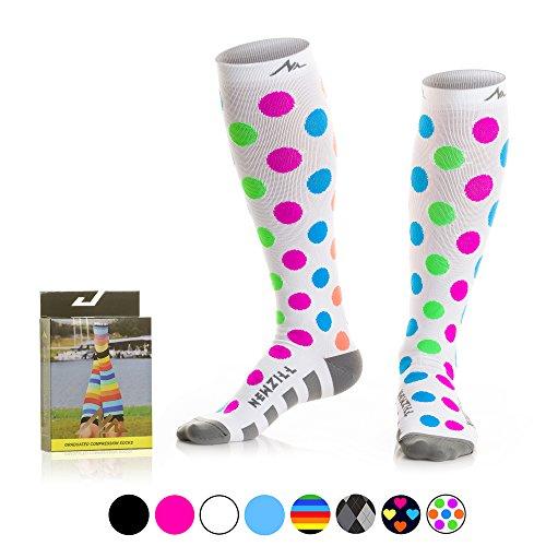 NEWZILL Compression Socks (20-30mmHg) for Men & Women - BEST Stockings for Running, Medical, Athletic, Edema, Diabetic, Varicose Veins, Travel, Pregnancy, Shin Splints. (Polka Dot, Medium)