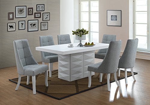 Kings Brand Milan 7 Piece White Modern Rectangle Dinette Dining Room Table & 6 Blue Chairs Rectangular Pedestal Dining Table