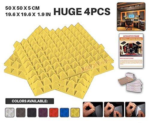 Acepunch AP1053 - Paneles de espuma acústica de pirámide autoadhesivo, aislante de sonido, pestañas de montaje, 4...