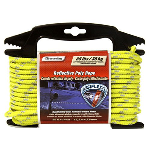 (Lehigh RMFPY1450 1/4-Inch by 50-Feet Reflective Polypropylene Rope, Yellow)