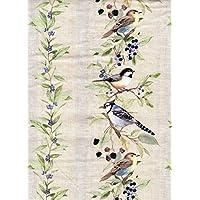 """Bird Stripe Beige Gray 16"""" Valance Curtain"""
