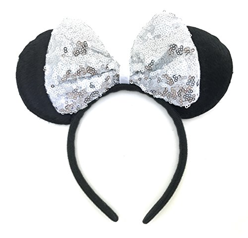 Price comparison product image MeeTHan Mickey Mouse Minnie Mouse Sequin Ears Headbands: M8 (SQ-White)