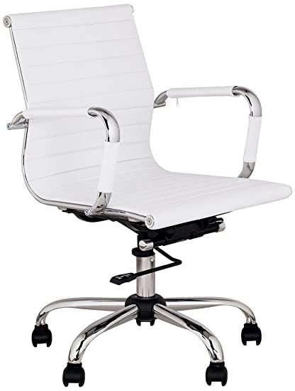 Merveilleux Serge White Low Back Swivel Office Chair