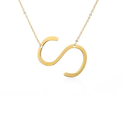 stainless steel sideways big initial necklace alphabet 26 letters choker a z gold s