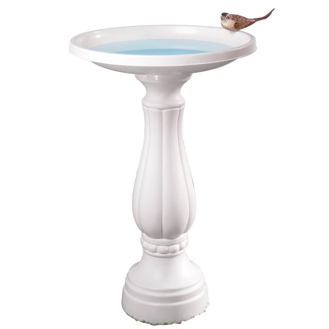 MS HOME Neoclassical Inspired Design Plastic White Bird Bath - Large, Easy to Assemble - 25''H x 16.75''dia.