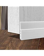 """Door Bottom Seal Strip, Self-Adhesive Under Door Sweep Weather Stripping for Exterior/Interior Doors, Door Draft Stopper Gap Wind Noise Door Window Blocker Seal Strip, Door Seal Sweeps Prevent Weatherproof Soundproof Dust Guard 2"""" Width X 39"""" Lenth (White)"""