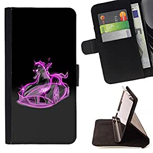 DEVIL CASE - FOR Apple Iphone 5 / 5S - Glowing Pink Horse Mustang Car - Style PU Leather Case Wallet Flip Stand Flap Closure Cover