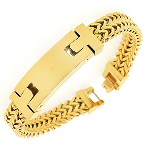 Stainless Steel Gold Tone Double Wheat Chain Classic