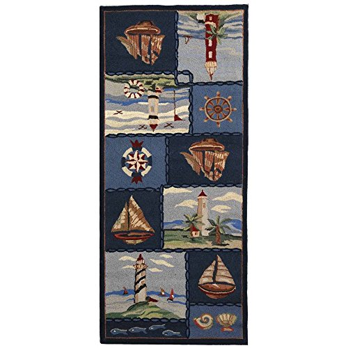 Safavieh Chelsea Collection HK267A Hand-Hooked Blue Premium Wool Runner (2'6