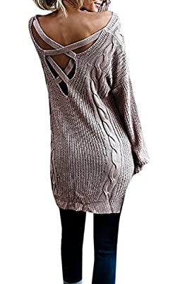 Dressit Women's Criss Cross Backless Sweaters Cable Knit Oversized Sweater Dresses