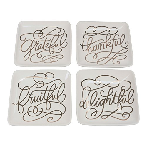 FLOOR | 9 Grateful, Thankful, Delightful, Fruitful' Crackle Glaze Appetizer Plates with Real Gold Accents, Set of ()