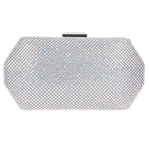 Fawziya Polygon Rhinestone Clutches Handle Clutch Purses For Women Evening Bag-AB Silver