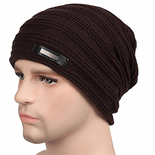 YANXH El nuevo El hombre que hace punto el casquillo más otoño grueso y el invierno al aire libre guardan el sombrero caliente del oído del cuidado , black brown