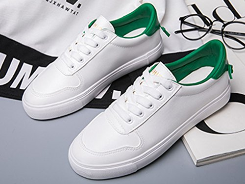 VECJUNIA Ladies Fashion Lace Up Low Top Anti-Skid Flat Walking Sneakers Shoes Green vFjwDRw