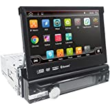 Wifi Android 7.1 Audio Single 1 Din Touchscreen Bluetooth DVD/CD/MP3/USB/SD AM/FM Car Stereo 7 Inch Digital LCD Monitor Detachable Front Panel, Wireless Remote, Multi-Color