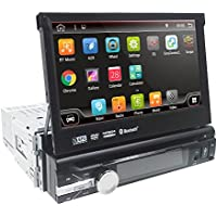 Wifi Android 6.0 Audio Single 1 Din Touchscreen Bluetooth DVD/CD/MP3/USB/SD AM/FM Car Stereo 7 Inch Digital LCD Monitor Detachable Front Panel, Wireless Remote, Multi-Color